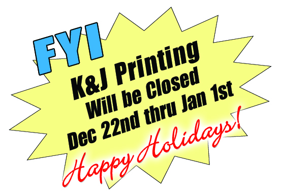 K&J will be closed December 22 through January 1